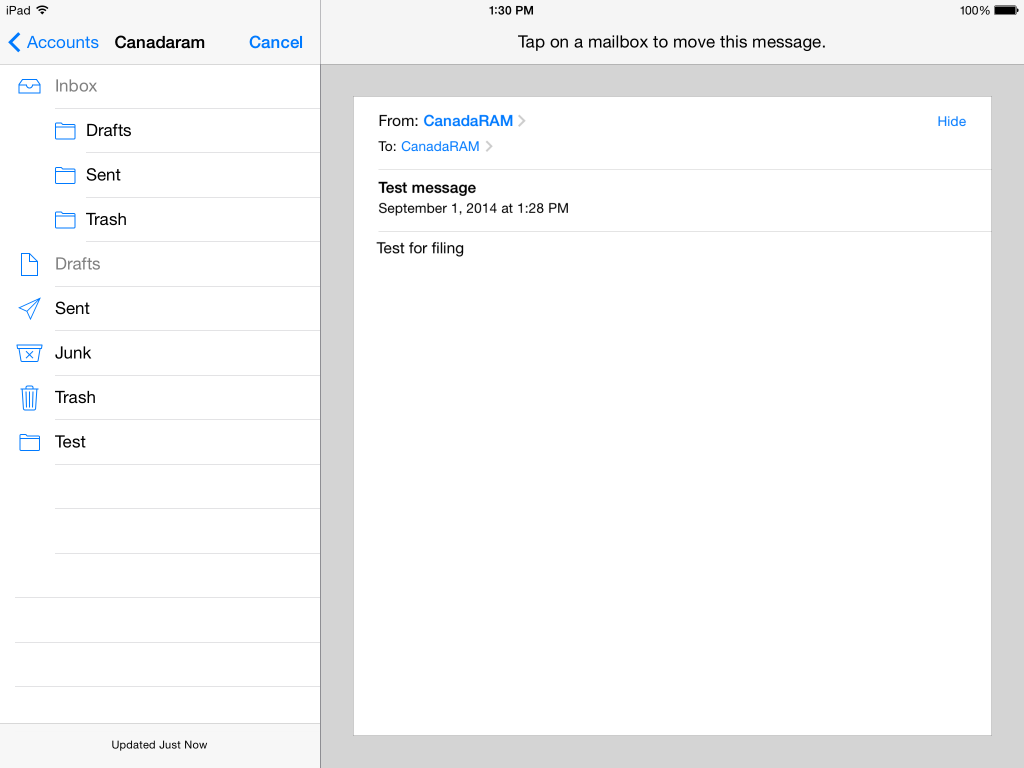 how to create a new folder in ipad email